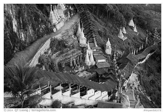 Hillside with covered stairway. Pindaya, Myanmar (black and white)