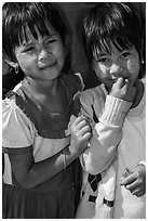 Two young friends, Nyaung Shwe. Inle Lake, Myanmar ( black and white)