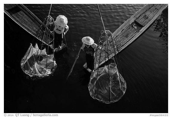 Intha fishermen with conical baskets seen from above. Inle Lake, Myanmar (black and white)