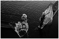 Above view of Intha fishermen. Inle Lake, Myanmar ( black and white)