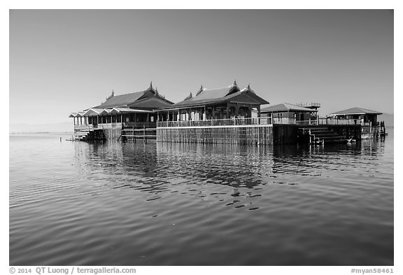 Restaurant built on stilts in middle of lake. Inle Lake, Myanmar (black and white)