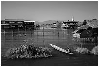Canal intersection. Inle Lake, Myanmar ( black and white)
