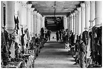 Covered walkway to Shwe Indein Pagoda lined up with vendors in 2014. Inle Lake, Myanmar ( black and white)