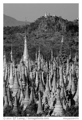 Jungle of stupas in various srages of disrepair, Indein. Inle Lake, Myanmar (black and white)