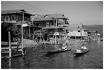 Houses on stilts in Ywama Village. Inle Lake, Myanmar ( black and white)