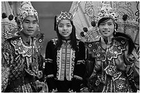 Greeters in traditional costume. Inle Lake, Myanmar ( black and white)