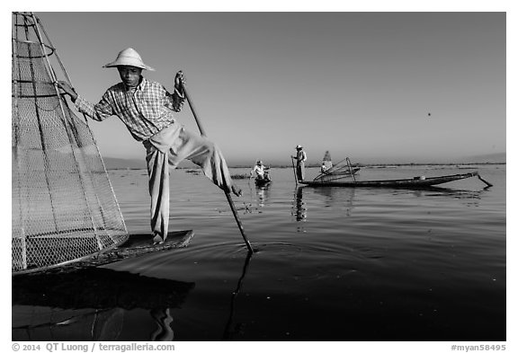 Group of Intha people fishing. Inle Lake, Myanmar (black and white)