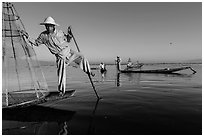 Group of Intha people fishing. Inle Lake, Myanmar ( black and white)