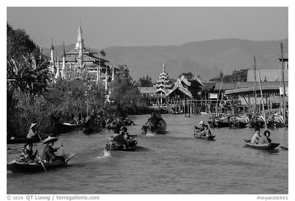 Small boats and shrines, Ywama Village. Inle Lake, Myanmar (black and white)