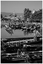 Parked boats and market. Inle Lake, Myanmar ( black and white)