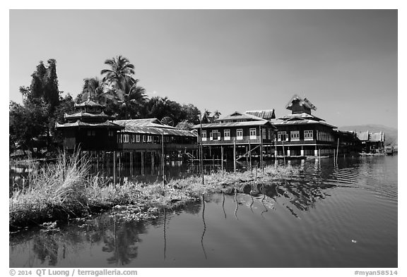 Nga Phe Kyaung monastery. Inle Lake, Myanmar (black and white)
