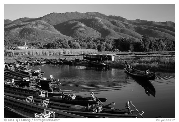 Canal, fields, and hills, Maing Thauk Village. Inle Lake, Myanmar (black and white)