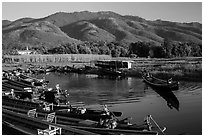 Canal, fields, and hills, Maing Thauk Village. Inle Lake, Myanmar ( black and white)