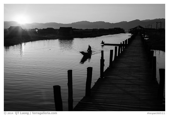Canal at sunset, Maing Thauk Village. Inle Lake, Myanmar (black and white)