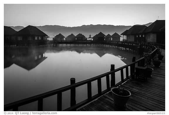 Myanmar Treasure Resort at dawn. Inle Lake, Myanmar (black and white)