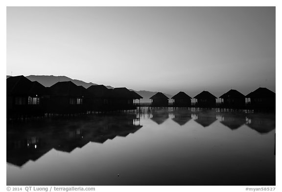 Resort cottages at dawn. Inle Lake, Myanmar (black and white)