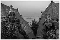 Greeters at dawn. Inle Lake, Myanmar ( black and white)