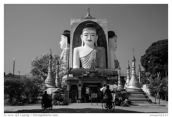 Four buddhas sitting back to back to four directions, Kyaik Pun Pagoda. Bago, Myanmar (black and white)