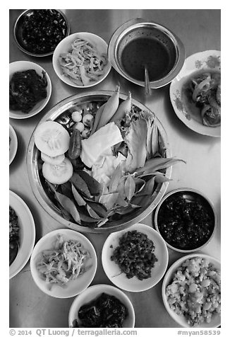 Close-up of Burmese meal. Bago, Myanmar (black and white)