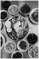 Close-up of Burmese meal. Bago, Myanmar ( black and white)