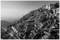 Kelasa Hilltop with golden rock in the distance. Kyaiktiyo, Myanmar ( black and white)