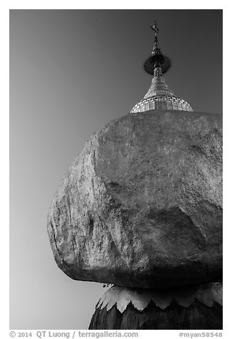 Golden Rock and Kyaiktiyo Pagoda at sunset. Kyaiktiyo, Myanmar (black and white)