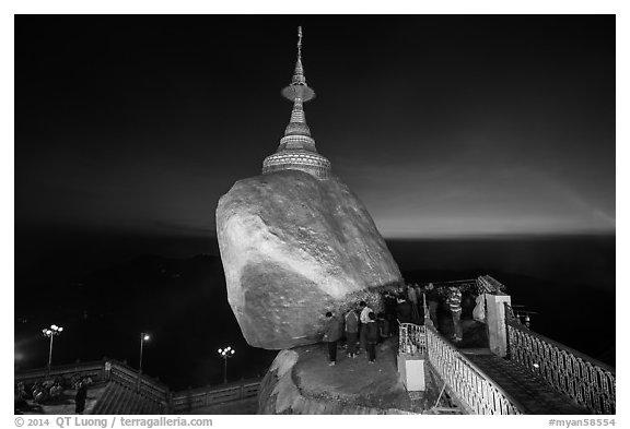 Bridge to the Golden rock with last light on horizon. Kyaiktiyo, Myanmar (black and white)