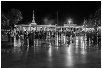 Crowds on main plaza at night. Kyaiktiyo, Myanmar ( black and white)