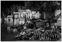 Pilgrims camp on the plaza. Kyaiktiyo, Myanmar ( black and white)