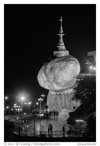 Golden Rock at night. Kyaiktiyo, Myanmar (black and white)
