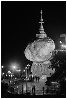 Golden Rock at night. Kyaiktiyo, Myanmar ( black and white)