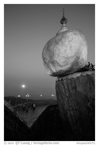 Golden Rock and lower platform at dawn. Kyaiktiyo, Myanmar (black and white)