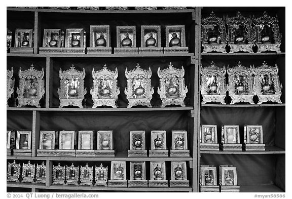 Golden Rock souvenirs for sale. Kyaiktiyo, Myanmar (black and white)