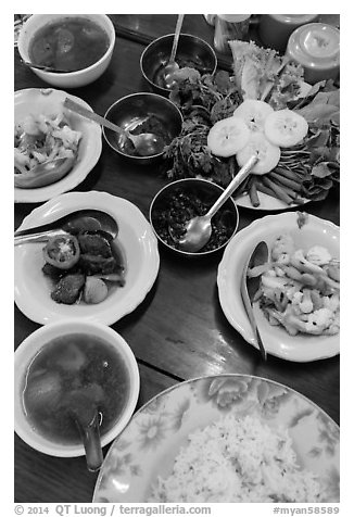 Typical Burmese lunch. Bago, Myanmar (black and white)