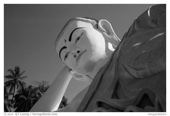 Head of Mya Tha Lyaung Reclining Buddha. Bago, Myanmar (black and white)