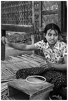 Woman making a lacquer bowl,  Mingun village. Bagan, Myanmar ( black and white)