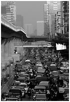 Traffic jam. Bangkok, Thailand (black and white)