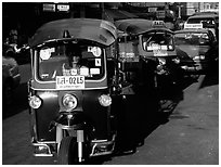 Tuk tuks, Khao San road. Bangkok, Thailand (black and white)