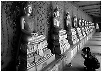 Woman worships a buddha image, Wat Arun. Bangkok, Thailand ( black and white)