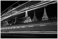 Wat Phra Kaew seen through the lights of traffic. Bangkok, Thailand ( black and white)
