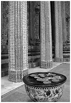 Lotus flowers and ornemented colunm, Wat Phra Kaew. Bangkok, Thailand ( black and white)
