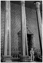 Gilded columns and walls, Wat Phra Kaew. Bangkok, Thailand (black and white)