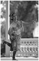 Traditional dancer. Bangkok, Thailand (black and white)
