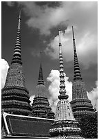 Ratanakosin style Chedis and roof, Wat Pho. Bangkok, Thailand ( black and white)