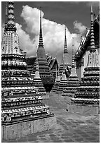 Layered and streamlined chedis in Ratanakosin style, Wat Pho. Bangkok, Thailand (black and white)