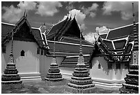 Wat Pho, the oldest and largest Wat in Bangkok. Bangkok, Thailand ( black and white)