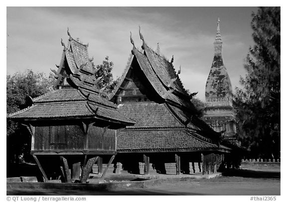 Thai rural temple architecture in northern style. Muang Boran, Thailand (black and white)