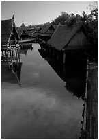 Village along canal. Muang Boran, Thailand ( black and white)