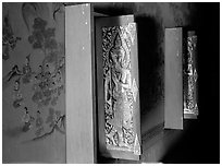 Windows and mural paintings. Muang Boran, Thailand ( black and white)