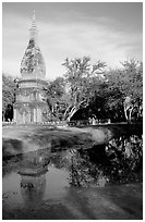 Chedi and pond. Muang Boran, Thailand (black and white)